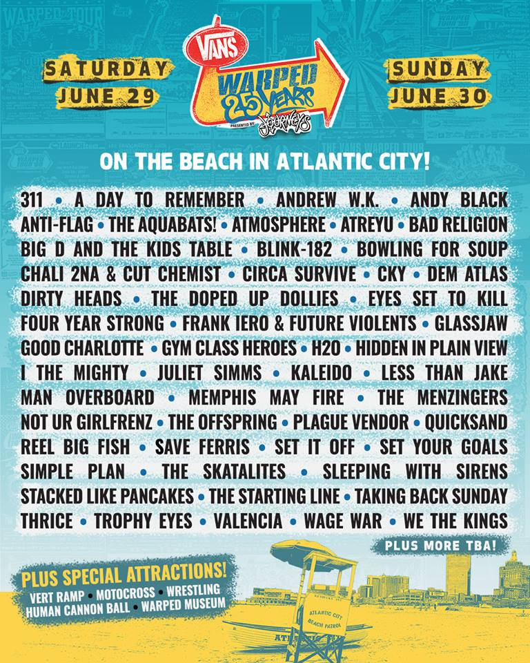 Warped Tour New Jersey Atlantc City Lineup Sad Summer Fest