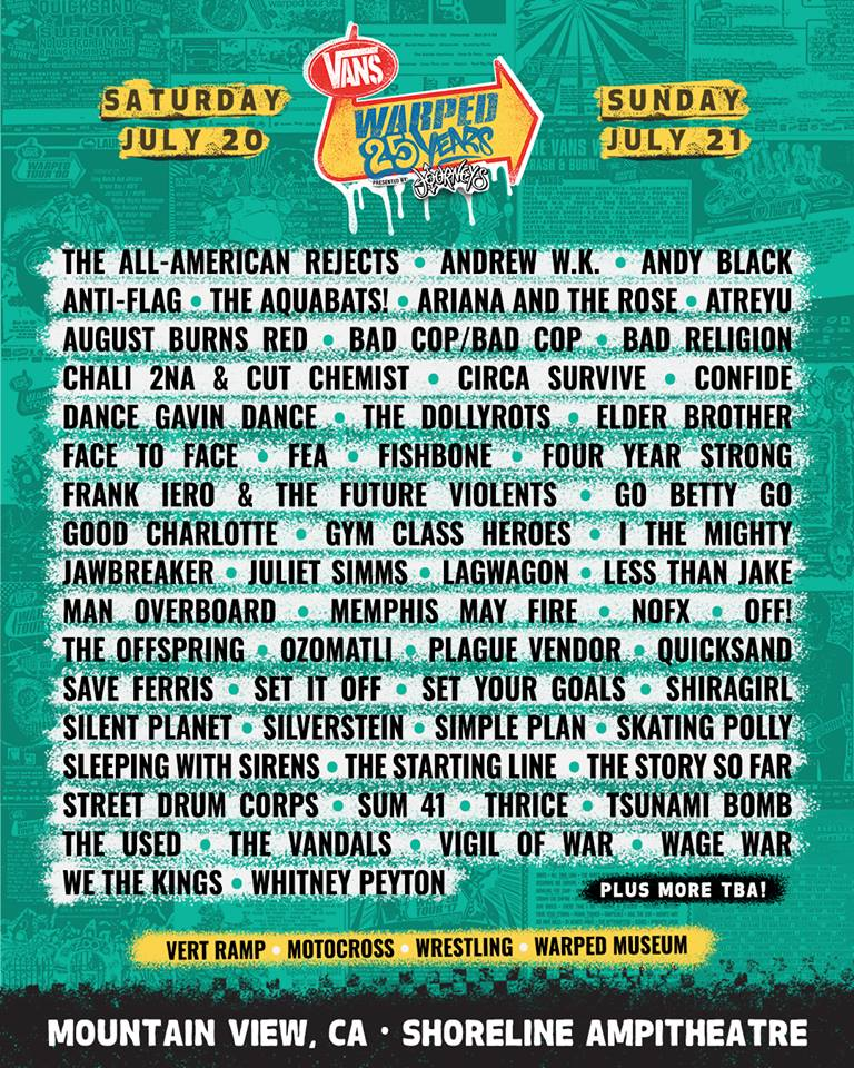 Warped Tour California Lineup Sad Summer Fest