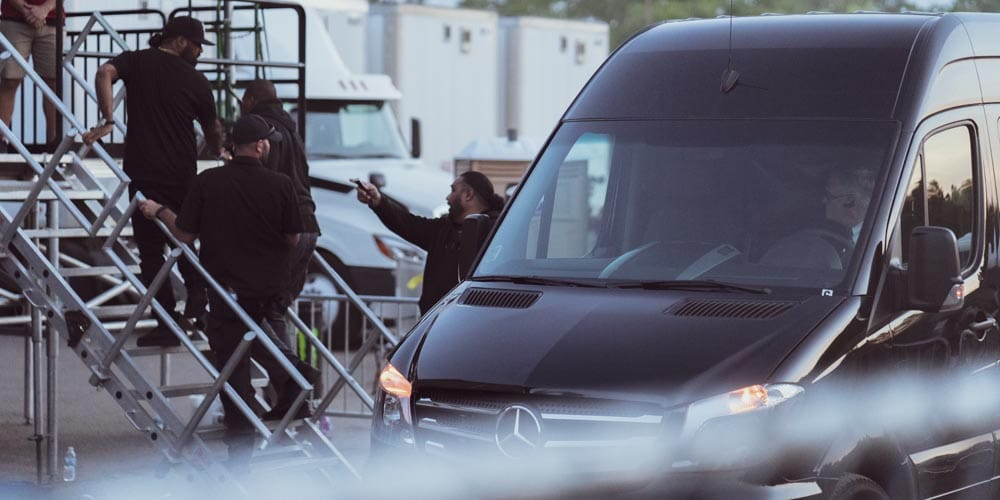 Lil Wayne's van pulling up to let him on stage at Soundset 2019
