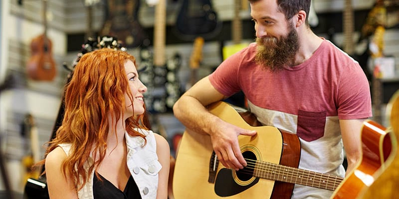 Types of People at Guitar Center Girlfriend Friend