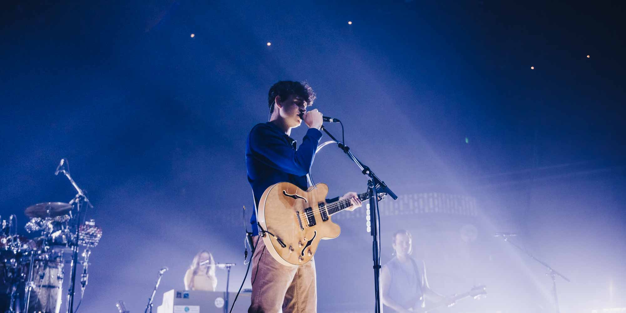 Ezra Koenig of Vampire Weekend performing at the Armory in Minneapolis. Photography by Joshua Garcia.
