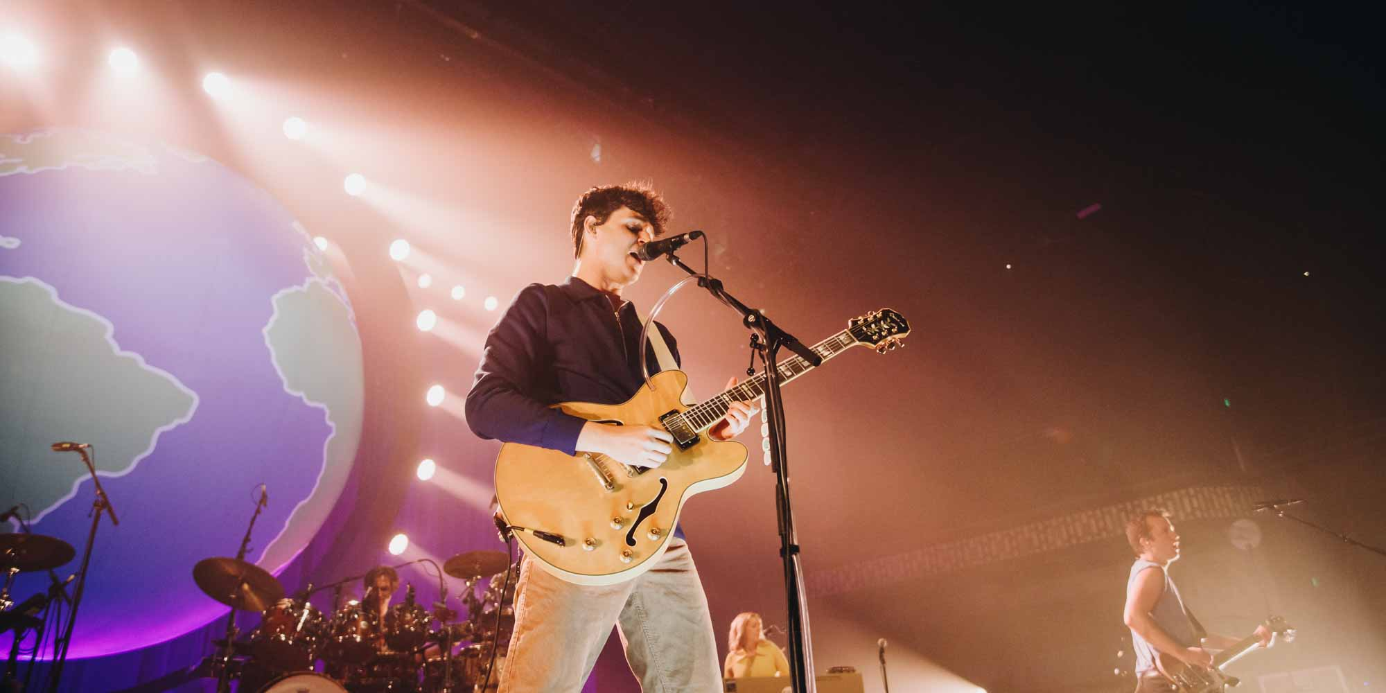 Ezra Koenig of Vampire Weekend live in Minnesota. Photography by Joshua Garcia.