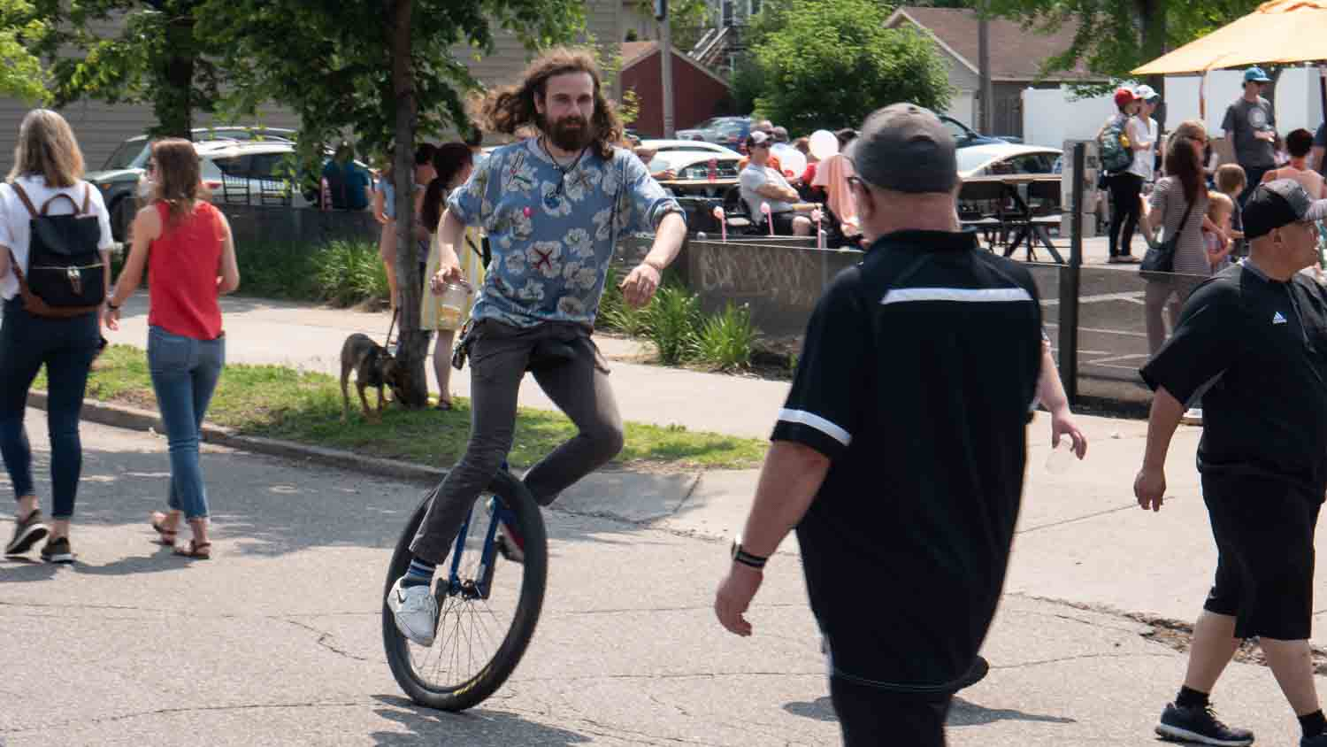 Joey Crowley riding Unicycle in Minneapolis