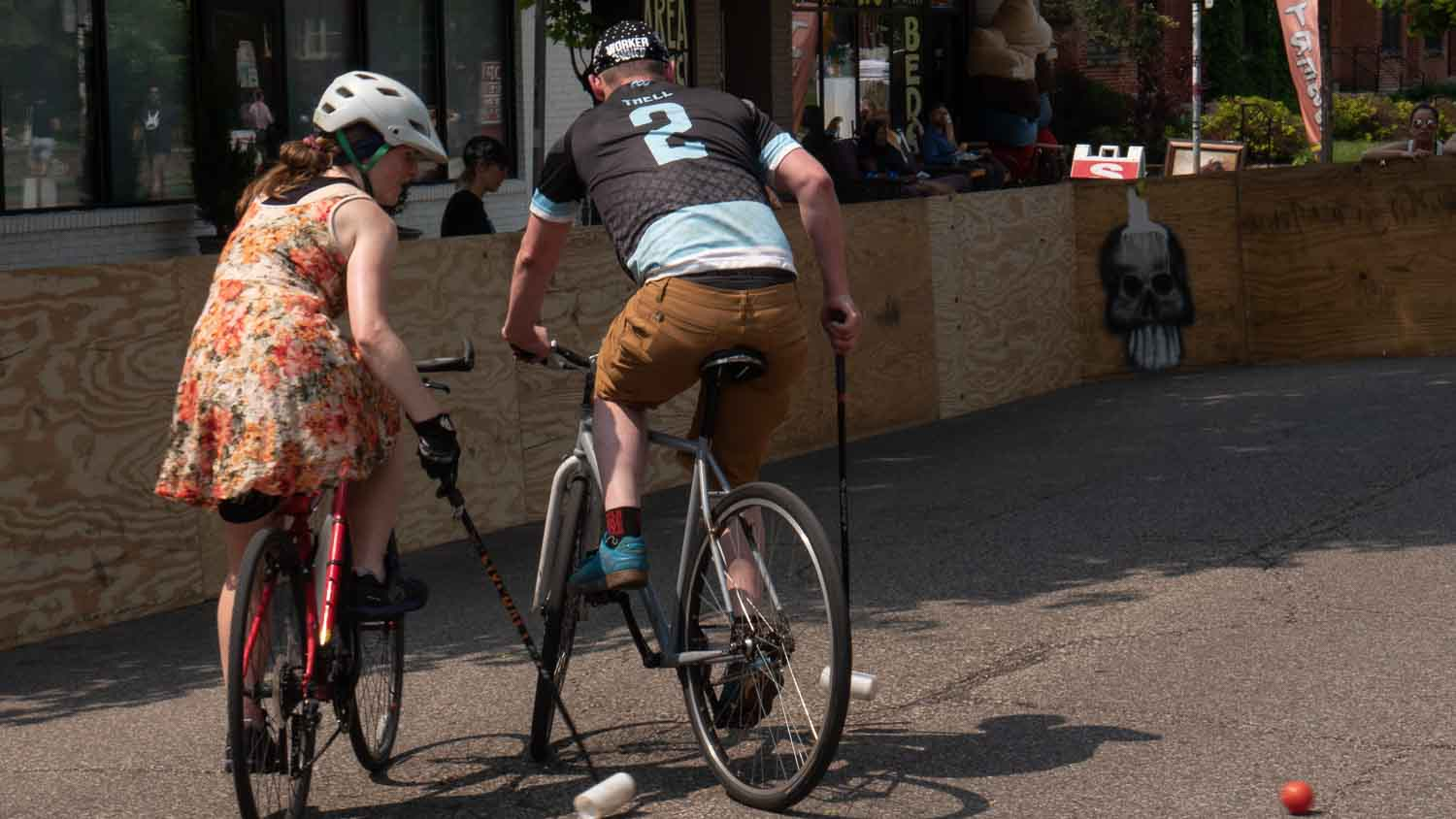 Bike Polo players tries to score Minneapolis
