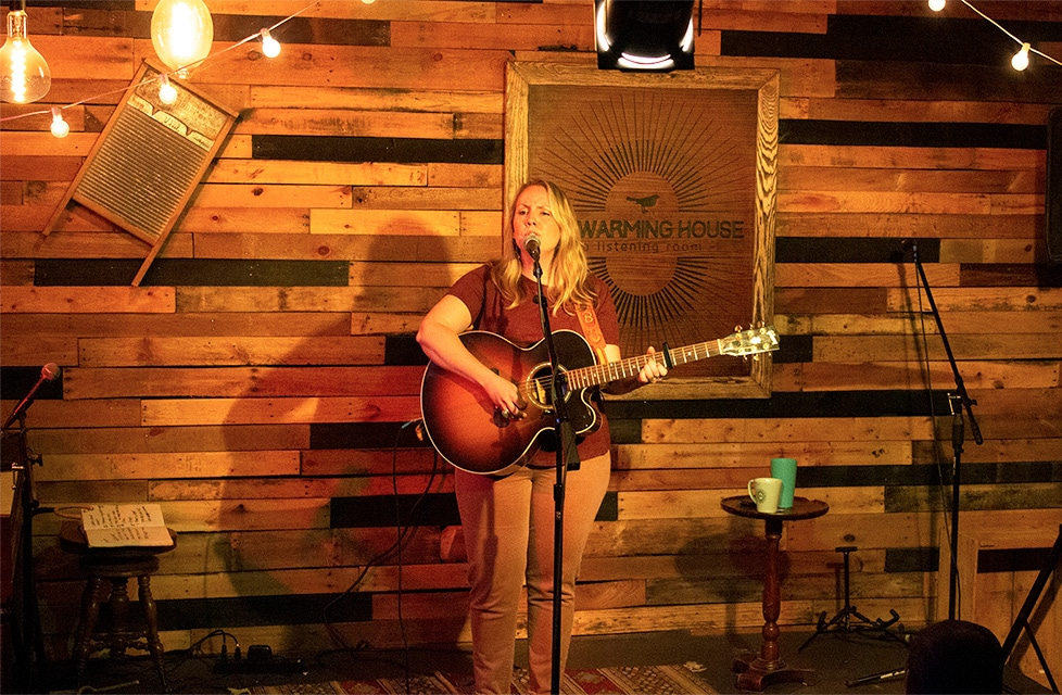 Mary Bragg of Nashville is on stage a The Warming House in Minneapolis, Minnesota