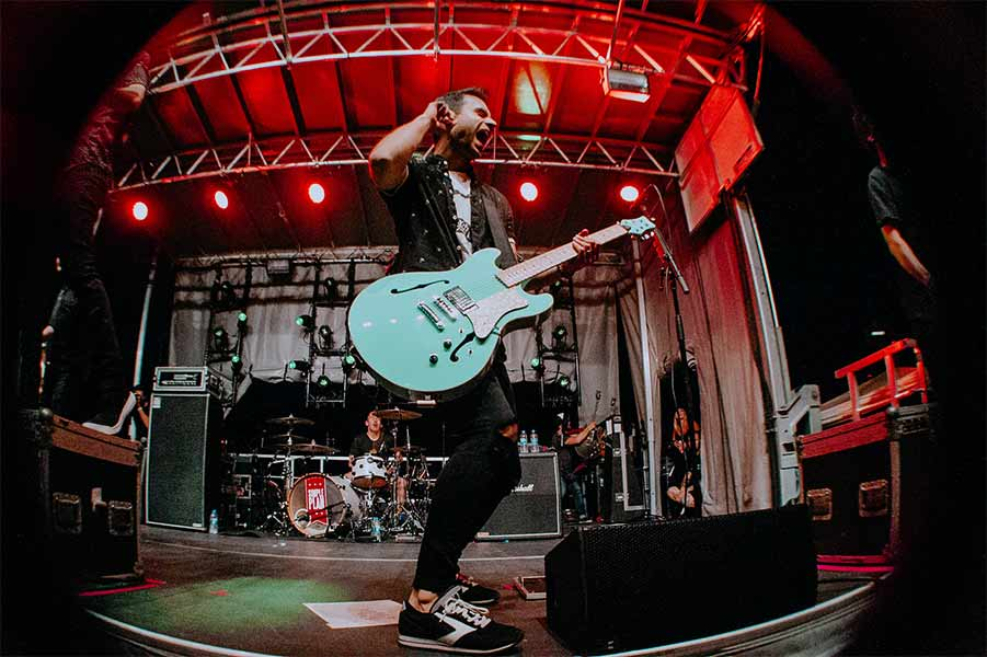 Sebastien Lefebvre of Simple Plan Warped Tour 25th Anniversary Opener Cleveland Ohio Rock and Roll Hall of Fame June 8 2019