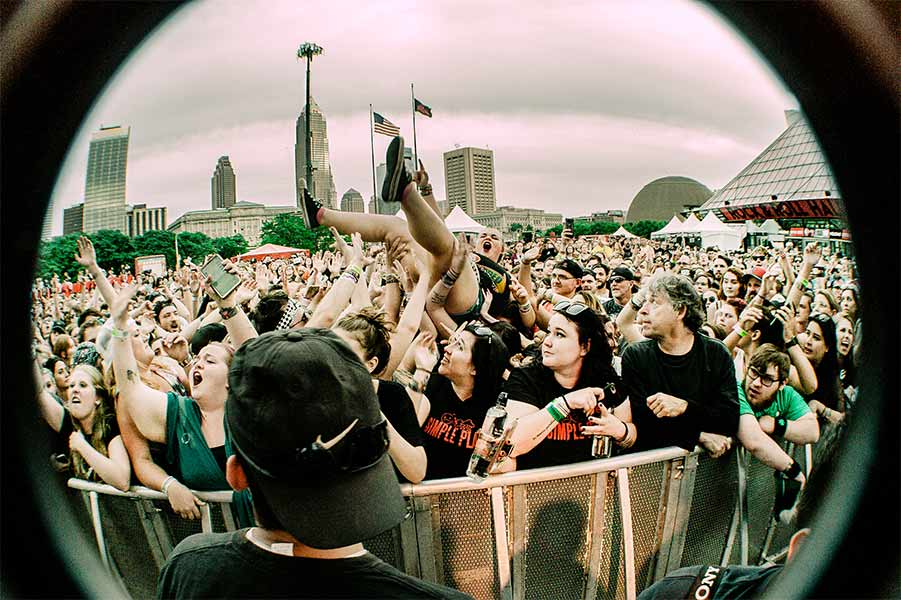 Crowdsurfing Fan Warped Tour 25th Anniversary Opener Cleveland Ohio Rock and Roll Hall of Fame June 8 2019