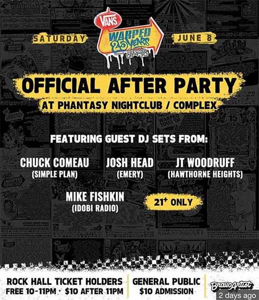 After Party Warped Tour 25th Anniversary Opener Cleveland Ohio Rock and Roll Hall of Fame June 8 2019