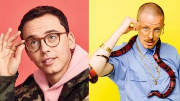 Rapper, Logic and Prof standing behind bright color background