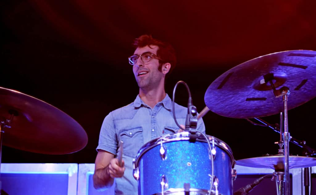 Bad Bad Hats drummer plays on stage