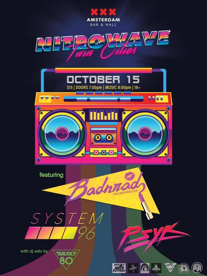 Promo poster for Synthwave night BadNrad, System96, and Psyk